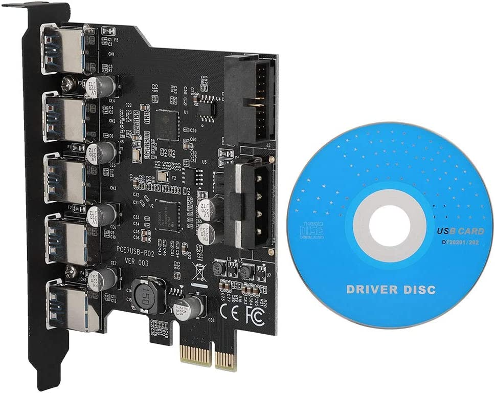 ASHATA 5-Port USB3.0 PCI Expansion Card PCI-E to USB3.0 Converter Adapter Card Desktop with 19 Pin Connector High Transmission Rate is up to 5Gbps