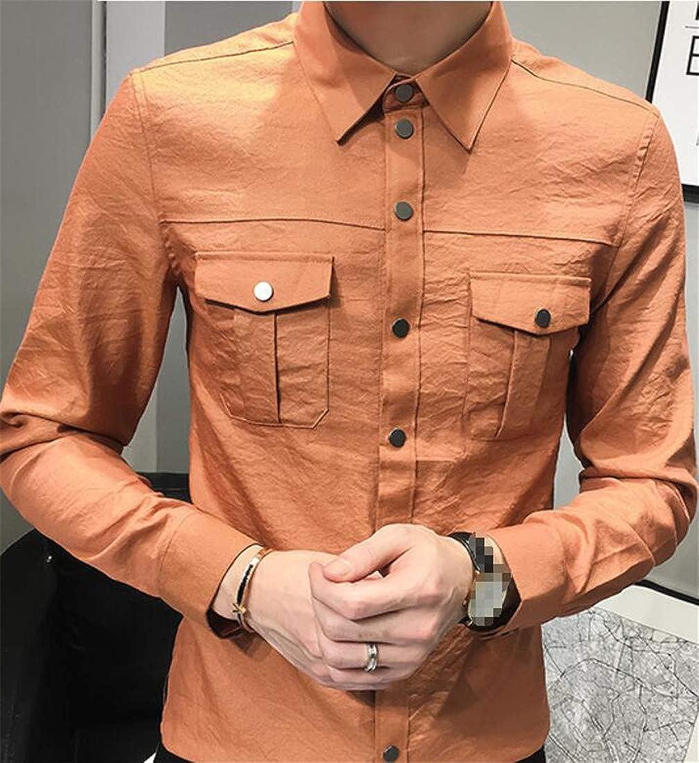 Lutratocro Men Casual Button Front Long Sleeve Regular Fit Regular Collar Shirts