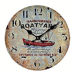 Eruner 12 Euro Country *Harbourside Boatyard* Vintage Wood Indoor Wall Clock Home Decor (C-36)