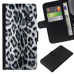 """Be-Star la tarjeta de Cr¨¦dito Slots PU Funda de cuero Monedero caso cubierta de piel Para Sony Xperia Z3 Plus / Z3+ / Sony E6553 (Not Z3) ( Patr¨®n Leopard Panther peluda gris Estilo"""" )"""