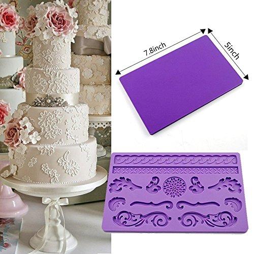 IC ICLOVER Fondant Cake Decorating Silicone Mold, Food Grade Silicone Chocolate Vintage Elegant Lace Cake Mold - Oven, Dishwasher Safe