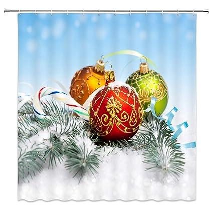 Amazon.com: AMFD Merry Christmas Shower Curtain Beautiful Decorative ...