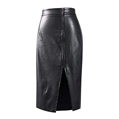 fb65afb78c Image Unavailable. Image not available for. Color: Pencil Skirt High Waist  PU Leather Skirt Black Side Split ...