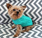 Wool Dog Puppy Sweater XXS/XS 2 to 3 Lbs Soft Merino in Turquoise Cable for Chihuahua Yorkie Pomeranian Maltese Toy Teacup Breed