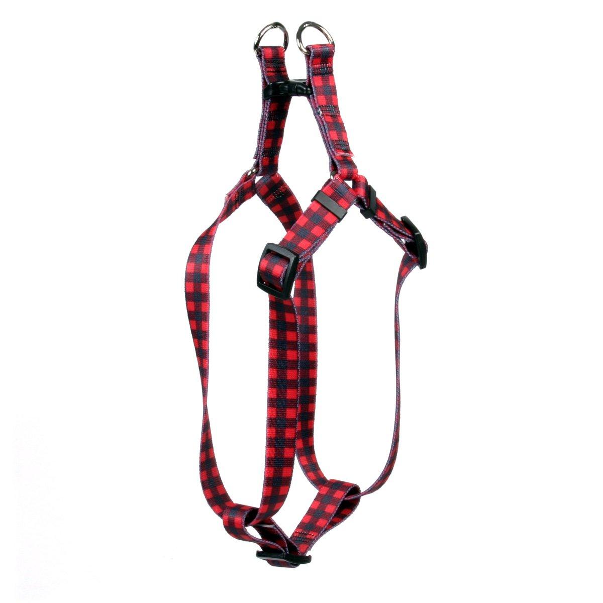 Yellow Dog Design Buffalo Plaid Red Step-in Dog Harness, Medium