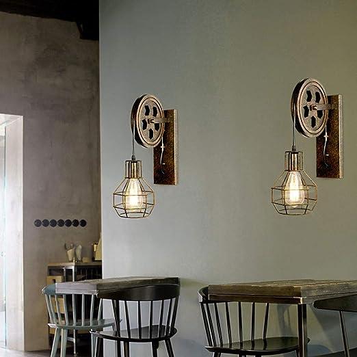 Hotel Bar K/üche mit Riemenscheibe rustikal kreativ Industrie-Design Restaurant Wandleuchte im Vintage-Stil f/ür Flur Eisenk/äfig Bronze