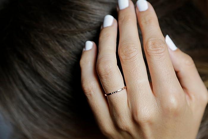 471dd30c607570 Amazon.com: Rose Gold Diamond Band, Dainty Wedding Ring, Rose Gold Wedding  Band, Black Diamond ring, 14k Solid gold: Handmade