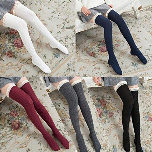 Long Socks,Haoricu 2018 Women Over The Knee Long Socks Lace Thigh High Stocking Socks