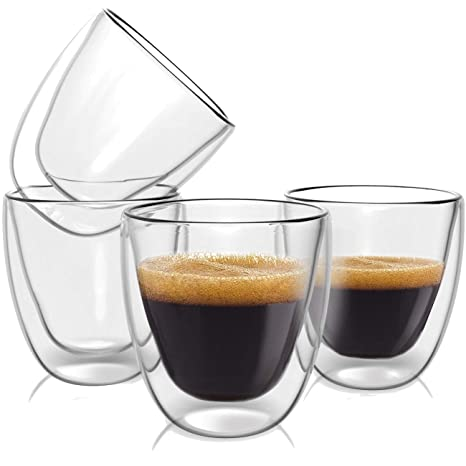 Double Wall Espresso Cups Set   Insulated Coffee Shot Glasses   2.6oz, Set  Of