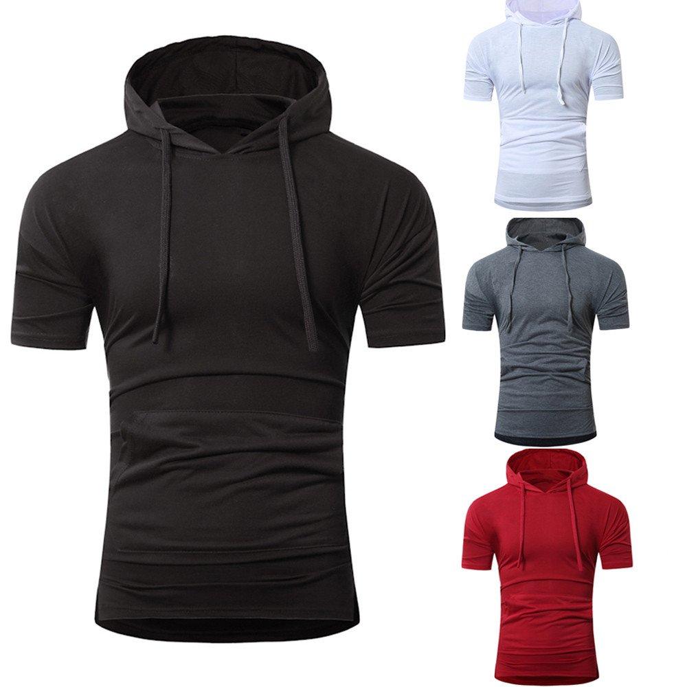 JIAJU-DJ Men Summer Fashion Hooded Pullover Mens Short-Sleeved T-Shirt