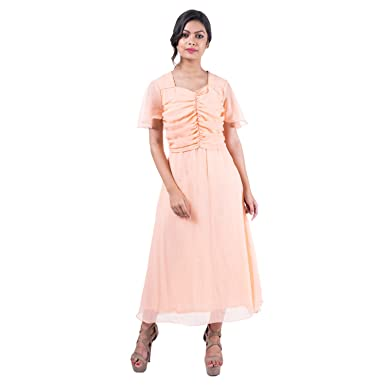 13599e6d3 Mamosa Peach Georgette Flared Sleeve gown for latest design redymade    stitched midi short Dress Maxi dress for Women long gowns for party wear ...