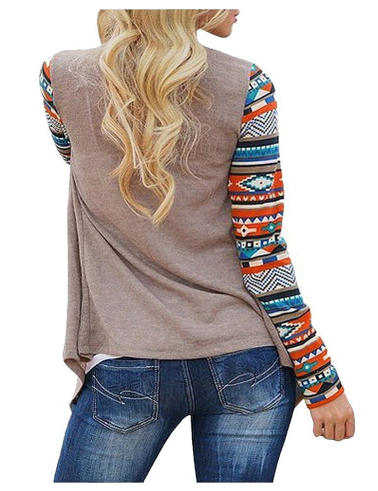 Landove Cardigan Manche Longue Femme Boheme Chic Veste Imprimé en Tricot  Sweat-shirt Manteau Automne 08bf3d1b4f86