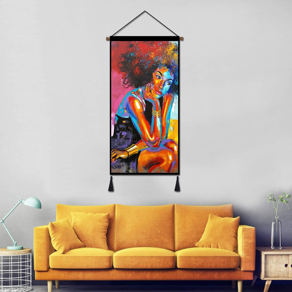 Vintage Hanging Poster Canvas Wall Art, African King and Queen Oil Painting Prints Tapestry Linen Scroll with Tassels, Decoration for Home Dorm Office 18X36 Inch (African Lady Thinking)