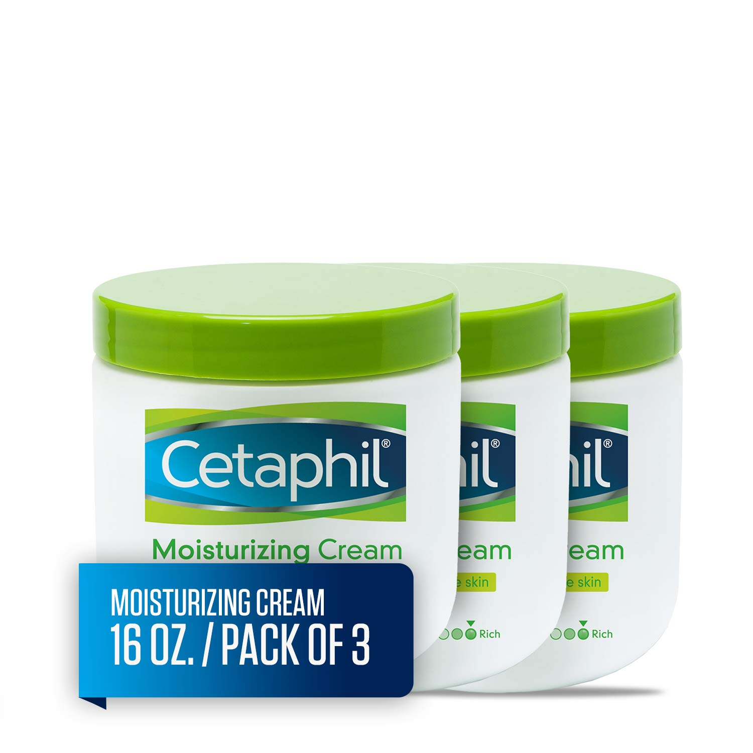 Cetaphil Moisturizing Cream for Very Dry/Sensitive Skin, Fragrance Free, 16 Ounce, Pack of 3 by Cetaphil (Image #1)