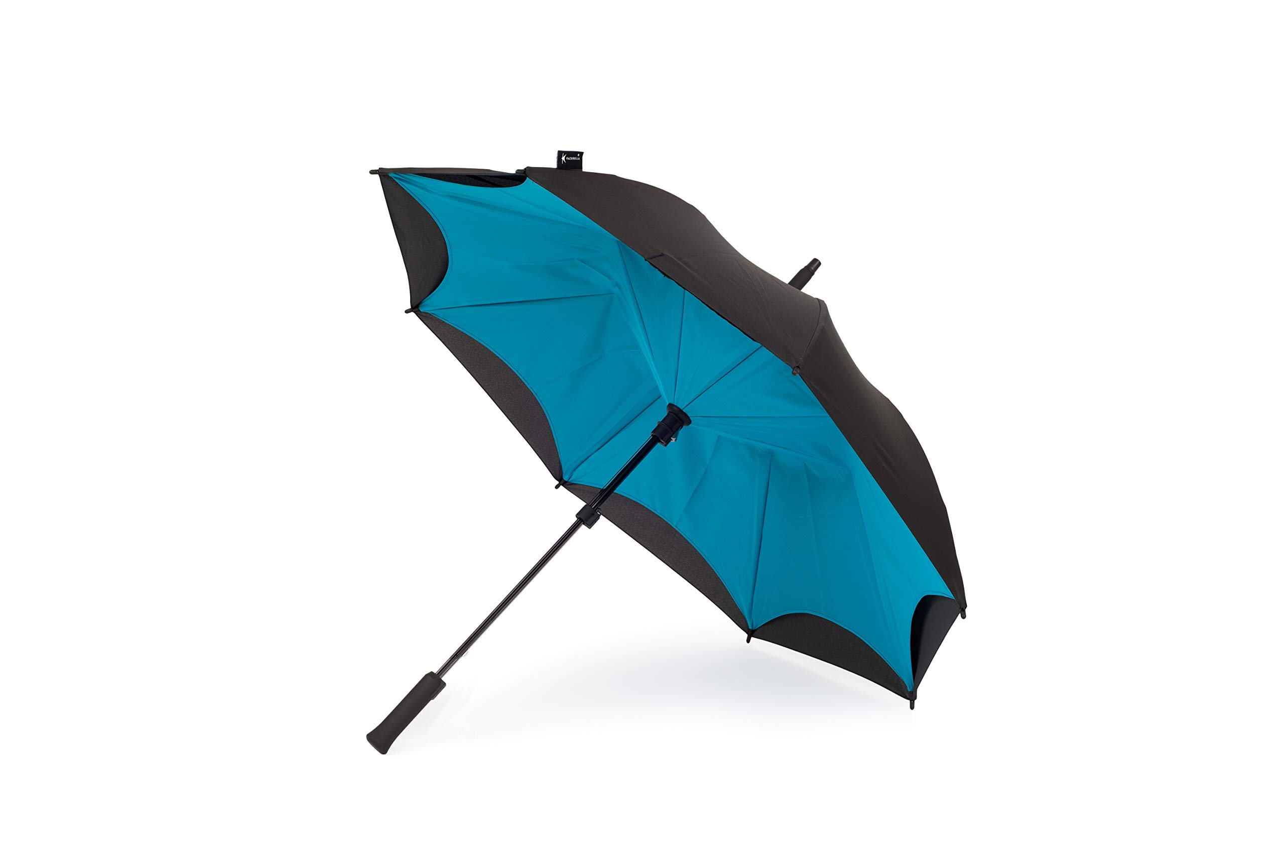 Orginal Kazbrella Reverse Folding Inverted Umbrella Double Layer Wind Proof UV Proof (Turquoise + Black (straight handle))
