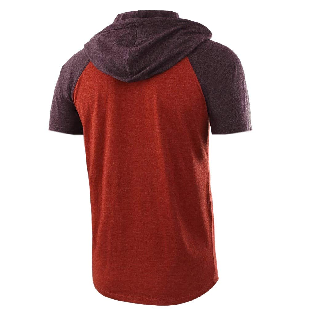 Hoodie for Men F/_Gotal Mens Polo Shirts Fashion Summer Short Sleeve Patchwork Drawsting Casual Hoodie Tees Blouse Tops