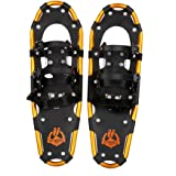 Enkeeo Light Weight Aluminum Alloy Terrain Snowshoes Kit with Carry Bag, Adjustable Ratchet Bindings, 120 /160 /210 lbs. Capacity , Black and Orange ,21 inches / 25 inches /30 inches