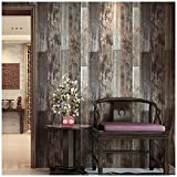 HaokHome 5003 Reclaimed Wood Plank Wallpaper Barnwood 20.8' x 31ft Brown/Grey Removable Wall Paper Wall Murals for Home Bathroom Bedroom Kitchen Decorative