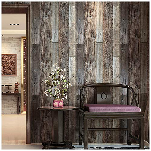 "HAOKHOME 5003 Reclaimed Wood Plank Wallpaper Barnwood 20.8"" x 31ft Brown/Grey Removable Wall Paper Wall Murals for Home Bathroom Bedroom Kitchen Decorative"