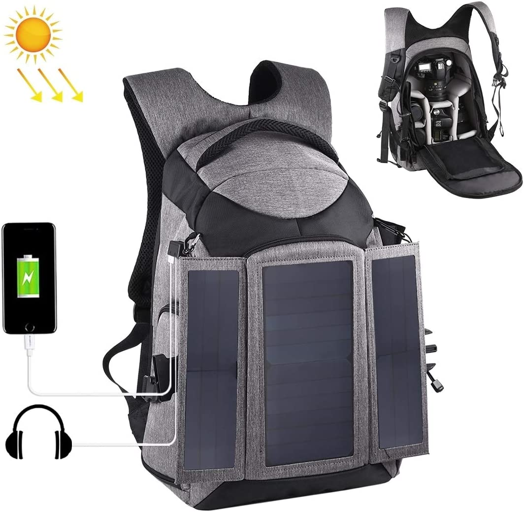 Color : Grey Camera Accessories JA 3-Fold 14W Solar Power Outdoor Portable Dual Shoulders Backpackage Camera Bag with USB Port /& Earphone Hole Grey