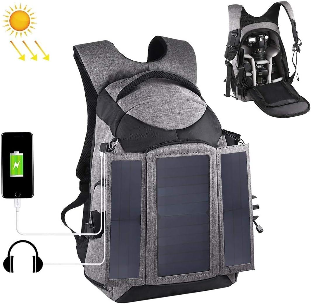 JINYANG Color : Grey Grey JINYANG Backpackage Bag 3-Fold 14W Solar Power Outdoor Portable Dual Shoulders Backpackage Camera Bag with USB Port /& Earphone Hole