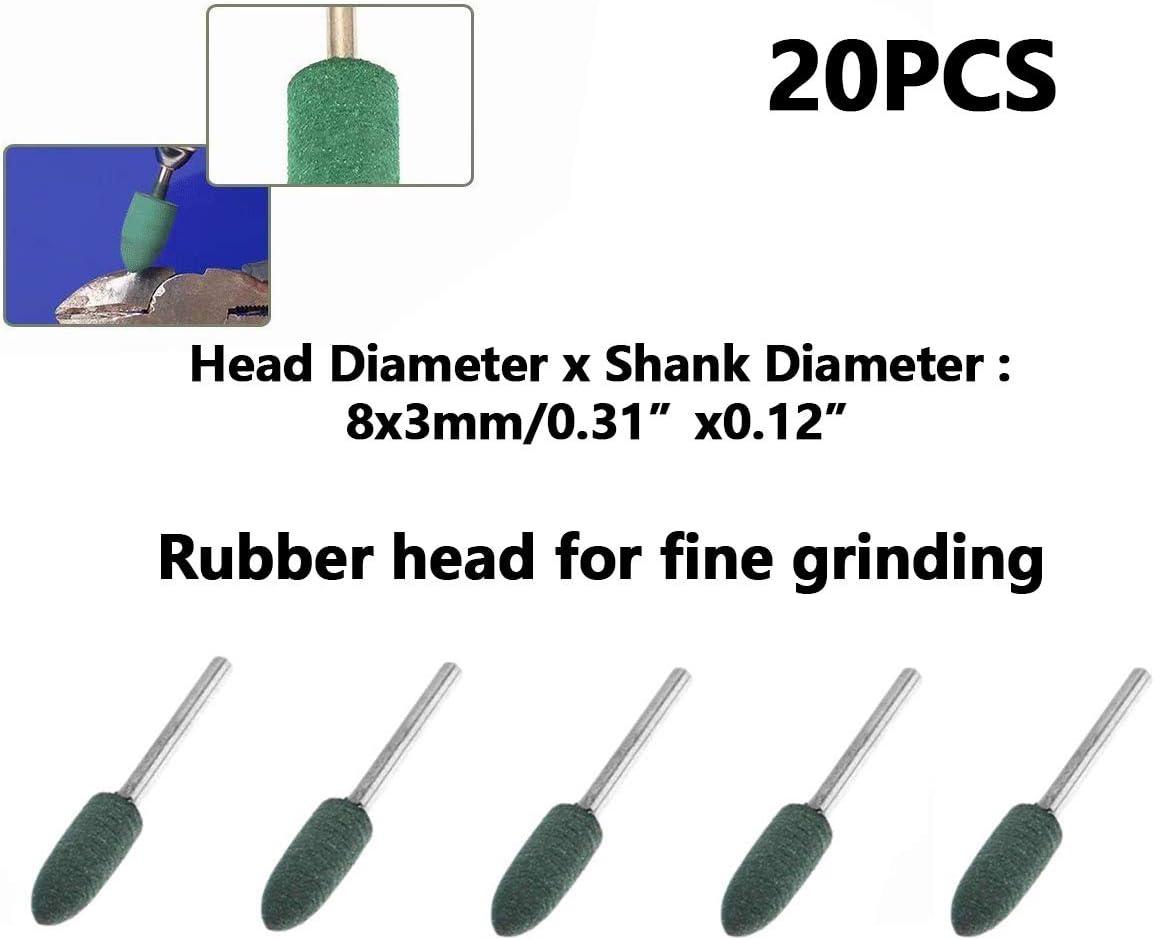 20 Pcs Polishing Mounted Points Polishing Bits For Dremel Derusting Grinding Buffing Rotary Tools(1//8 Shank 8mm Bullet Rubber )