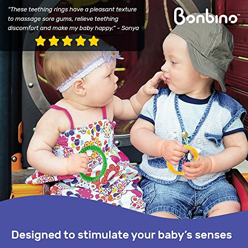 Teether Rings - (4 Pack) Silicone Sensory Teething Rings - Fun, Colorful and BPA-Free Teething Toys - Soothing Pain Relief and Drool Proof Teether Ring (Unisex) by Bonbino (Image #6)