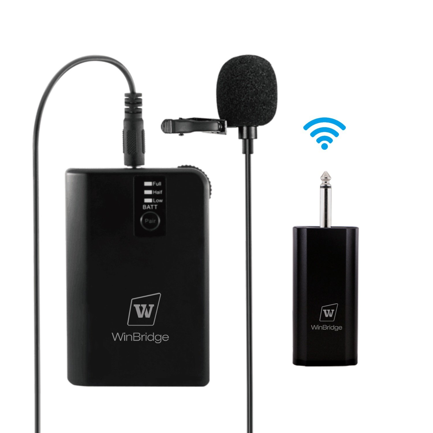 WinBridge WB028 Rechargeable UHF Wireless Lavalier Microphones with easy Clip On System with Bodypack Transmitter Receiver 1/4 Inch Output Perfect for DSLR Camera