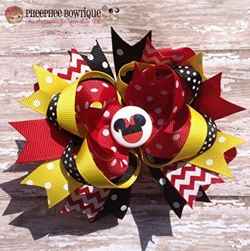 Disney Hair Bows Mickey Mouse Hair Bow Minnie Mouse Hair Bow Loopy Flower Hair Bow white hairbow