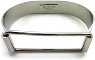 product image for A.V. Max NYC Silvertone Open Rectangle Buckled Hinge Latch Bracelet 1/2 Wide