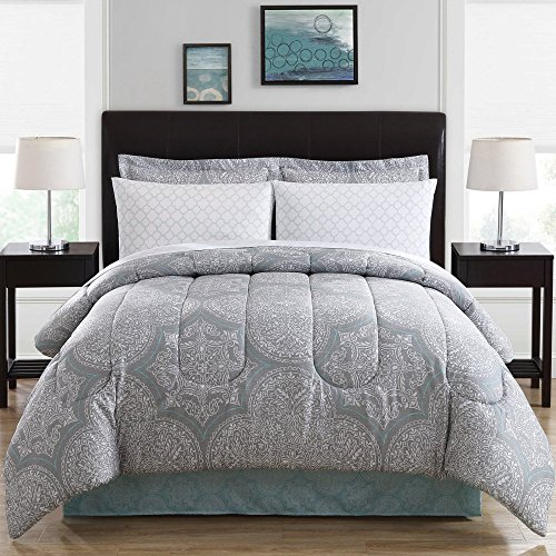 Ellison Great Value Silverton 8 Piece Bed in a Bag, King, Blue (Mosaic King Bed)