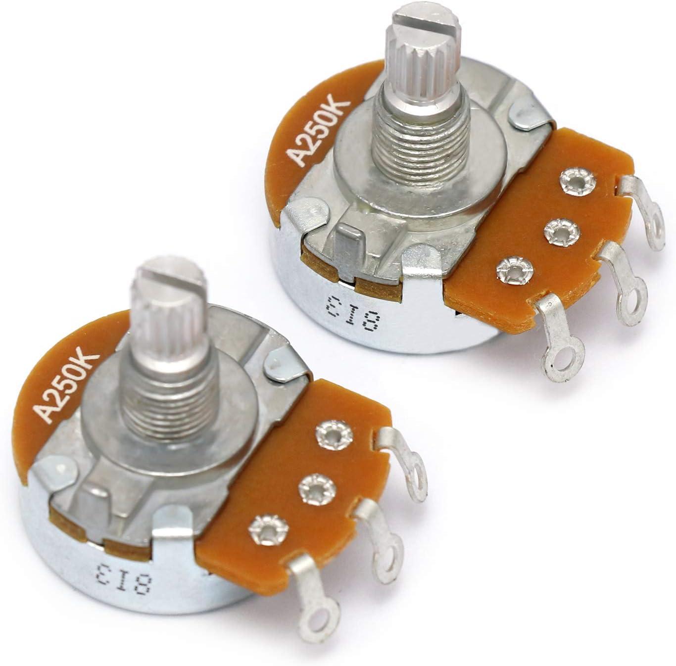 Metallor Alpha Pots Log A250K Volume Audio Potentiometer Electronics For Electric Guitar Or Bass Guitar. (Larger A250K)