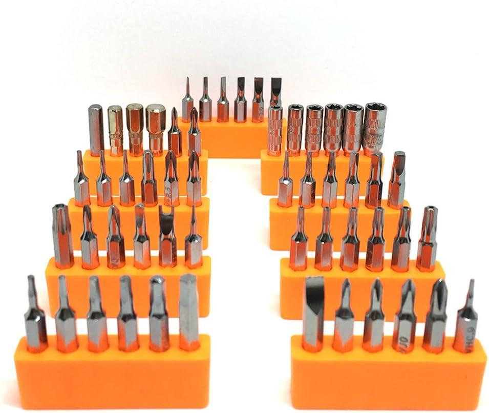 54 puntas destornillador mini, set de herramientas Juego de destornilladores precision Screwdriver Repair Tool Kit Bit Plana/Mango es schön goma para PC, gafas, Teléfono móvil, Laptop, iPad, iPhone, Watch, Reloj etc by