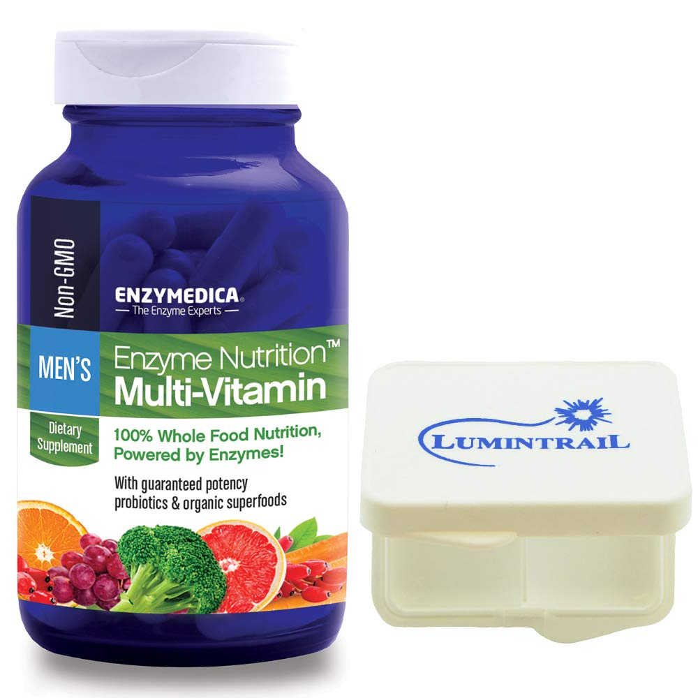 Enzyme Nutrition Men's Multi-Vitamin, Whole Food Nutrition, 120 Capsules Bundle with Lumintrail Pill Case by Enzymedica