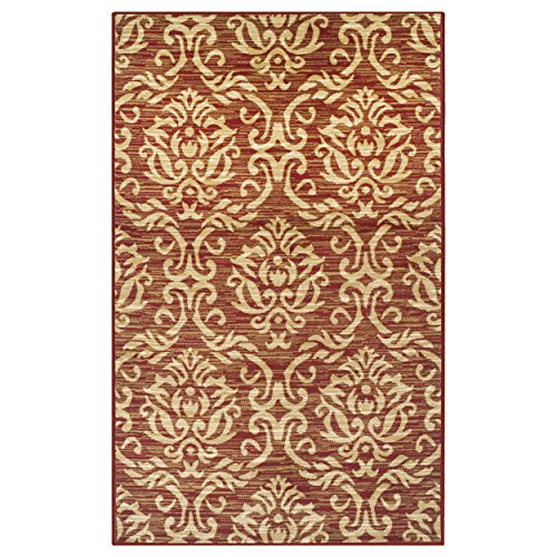 Superior Fleur de Lis Collection Area Rug, Elegant Scrolling Damask Pattern, 10mm Pile Height with Jute Backing, Affordable Contemporary Rugs - Red, 8' x 10' Rug