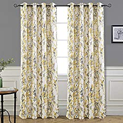 "DriftAway Leah Abstract Floral Blossom Ink Painting Room Darkening/Thermal Insulated Grommet Unlined Window Curtains, Set of Two Panels, Each Size 52""x84"" (Yellow/Silver/Gray)"