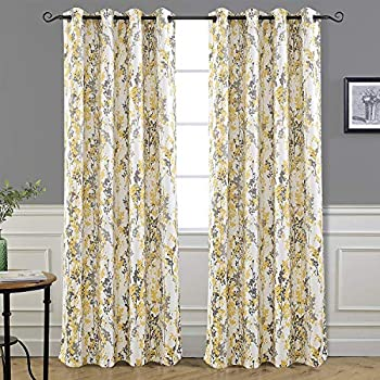 DriftAway Leah Abstract Floral Blossom Ink Painting Room Darkening Thermal Insulated Grommet Unlined Window Curtains 2 Panels Each Size 52 Inch by 84 Inch Yellow Silver Gray