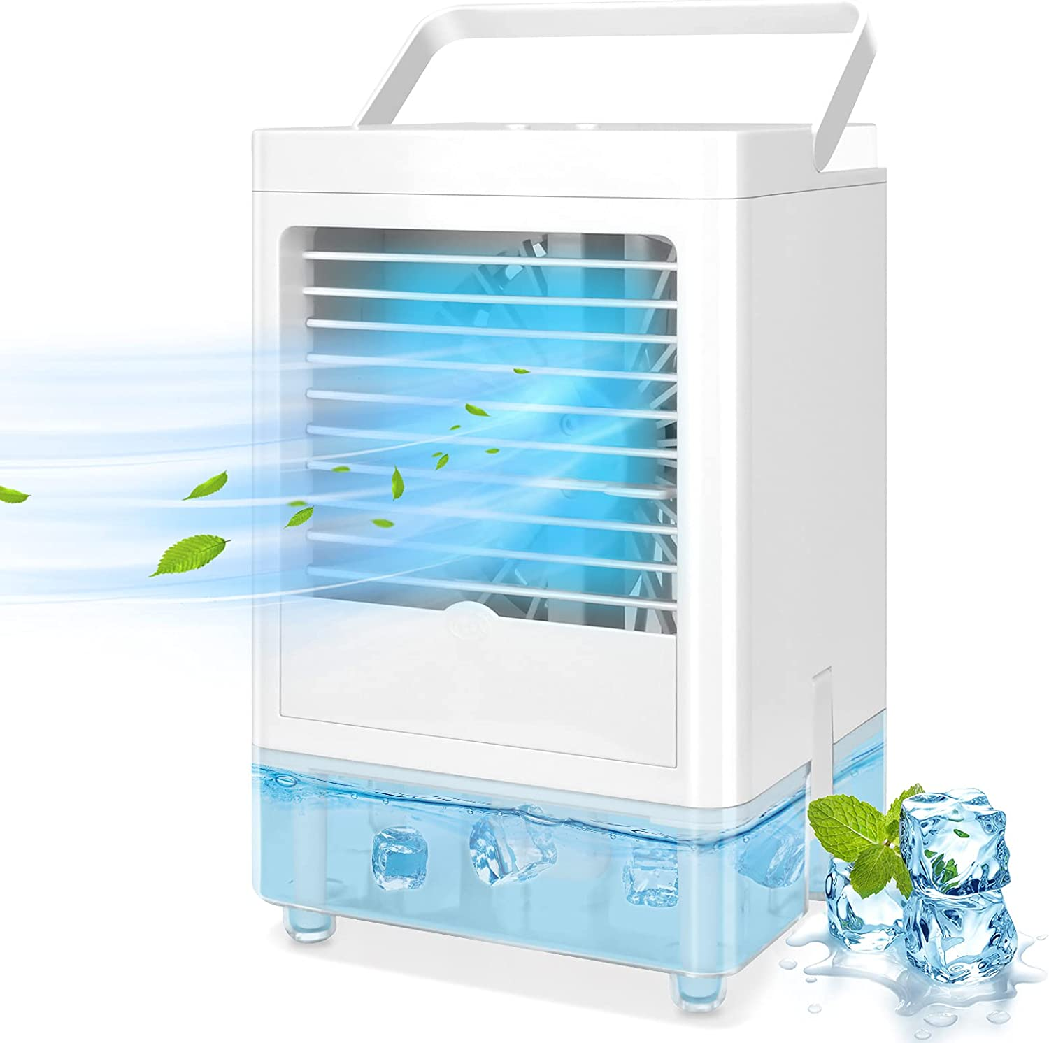 TAECCL Portable Air Conditioner Evaporative Air Cooler with Timer Humidifier Misting Fan Mini Air Conditioner Personal Cooler Desk Fan Battery Operated Rechargeable Cooling Fan for Room, Office