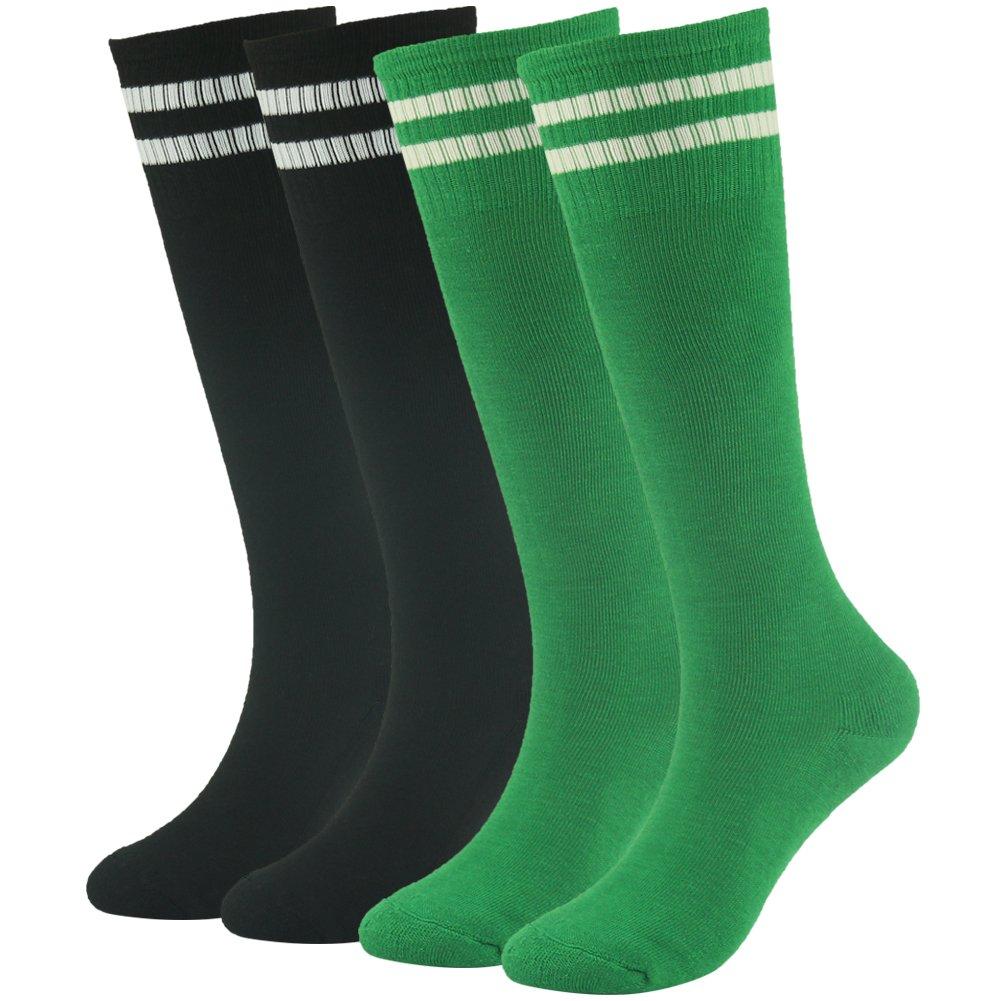 Lucky Commerce adolescents Soccer Chaussettes de football garçons filles Coton genou haute Team enfants Chaussettes de sport 2/4/8paires de chaussettes