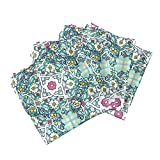 Persian Tile Floral Roommates Multicolor Girl Bright Linen Cotton Dinner Napkins Persian Tile ~ Spring Break ~ by Peacoquettedesigns Set of 4 Dinner Napkins