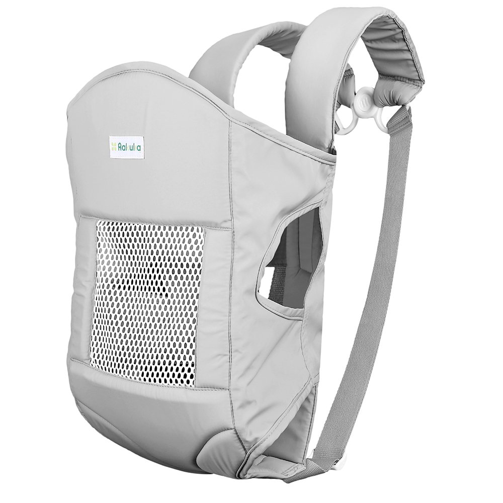 Baby Carrier, Rakuka Embrace-02 Breathable Soft Ergonomic Baby Sling with Padded Head Support Front and Back Carrier for Infant and Toddler, 3 Carrying Positions (Grey)
