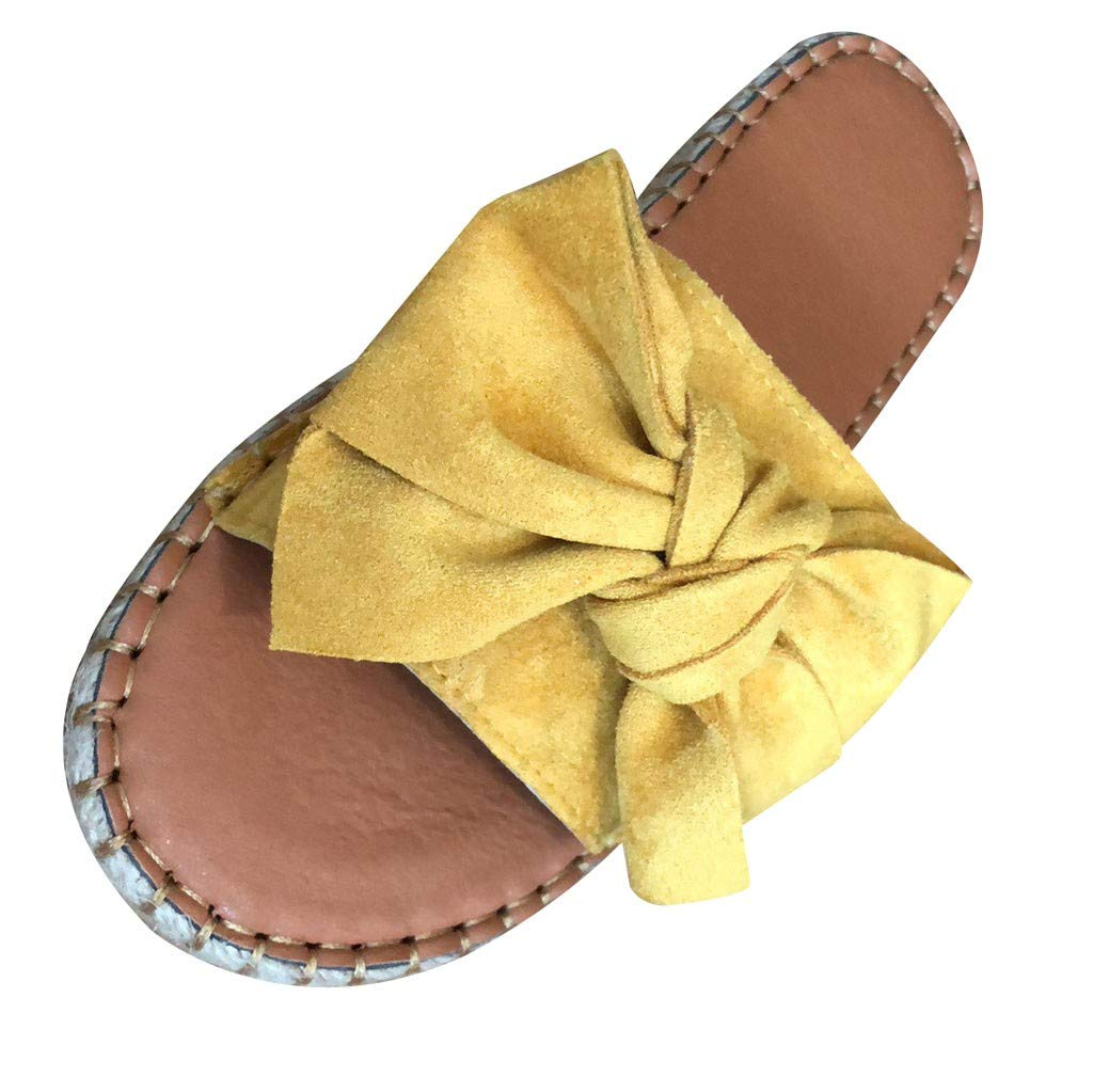 Kiminana Butterfly-Knot Slipper Flat dandals,Female Bow Flat Sandals Beach Slippers Shoes Yellow by Kiminana