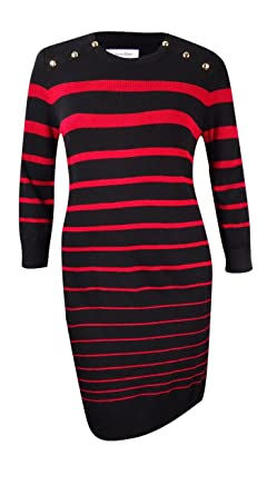 0c2365e1d7b Calvin Klein Womens Striped Metal Button Sweaterdress Red L at ...