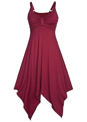 Women Summer Sleeveless V Neck Elastic Irregular Hem Backless Dress Plus Size S-2XL