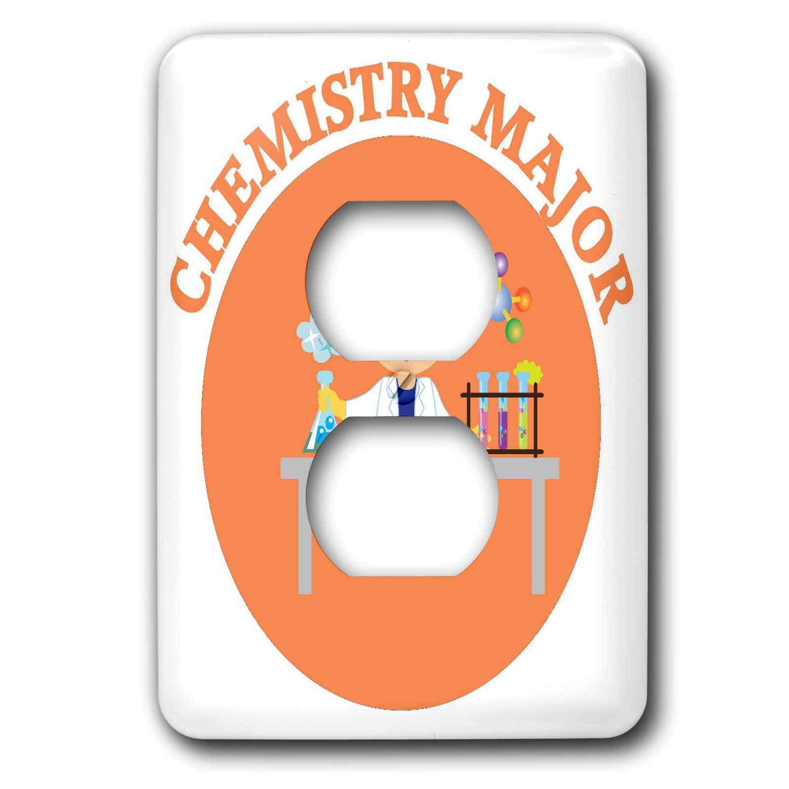 3dRose TNMGraphics School - Chemistry Major in Orange - Light Switch Covers - 2 plug outlet cover (lsp_286284_6)