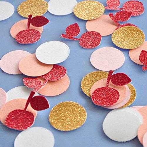 Ice Cream Shoppe Table Confetti 50CT. Cherry and Circle Confetti. (2 - Shoppe Table