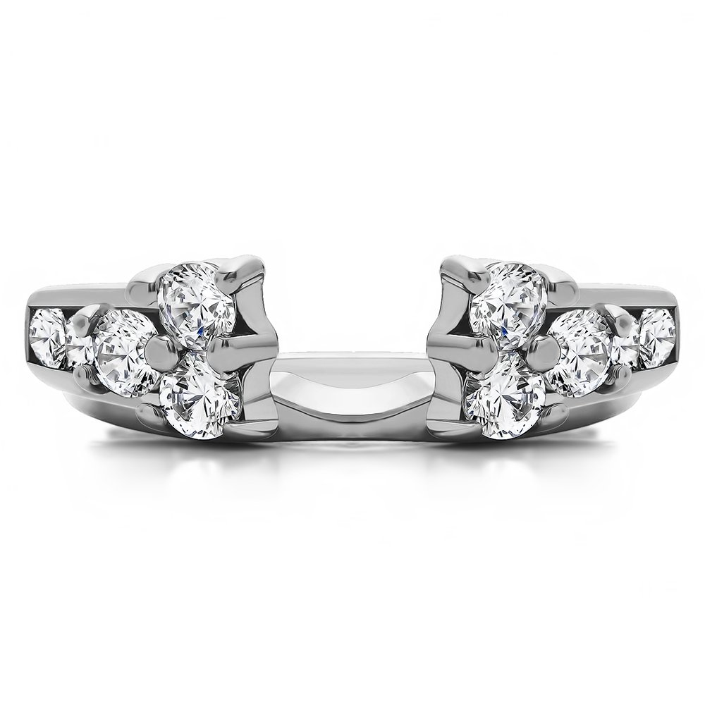 0.35Ct CZ Ring Wrap and Enhancer Mounted in Rose Plated Silver Size 3 to 15 in 1//4 Size Interval