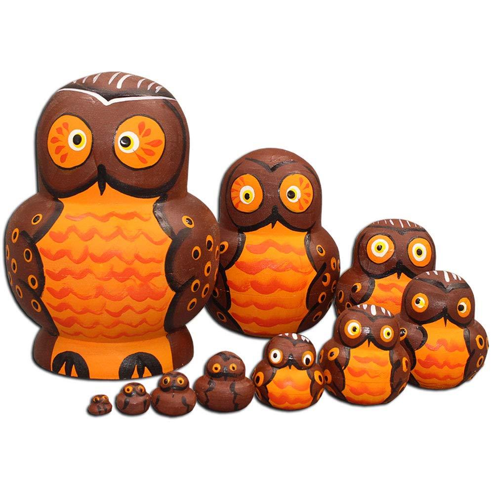 Moonmo Owl Nesting Dolls- Owl Decor - Owl Gifts - Owl Toy - Matryoshka set 10 dolls