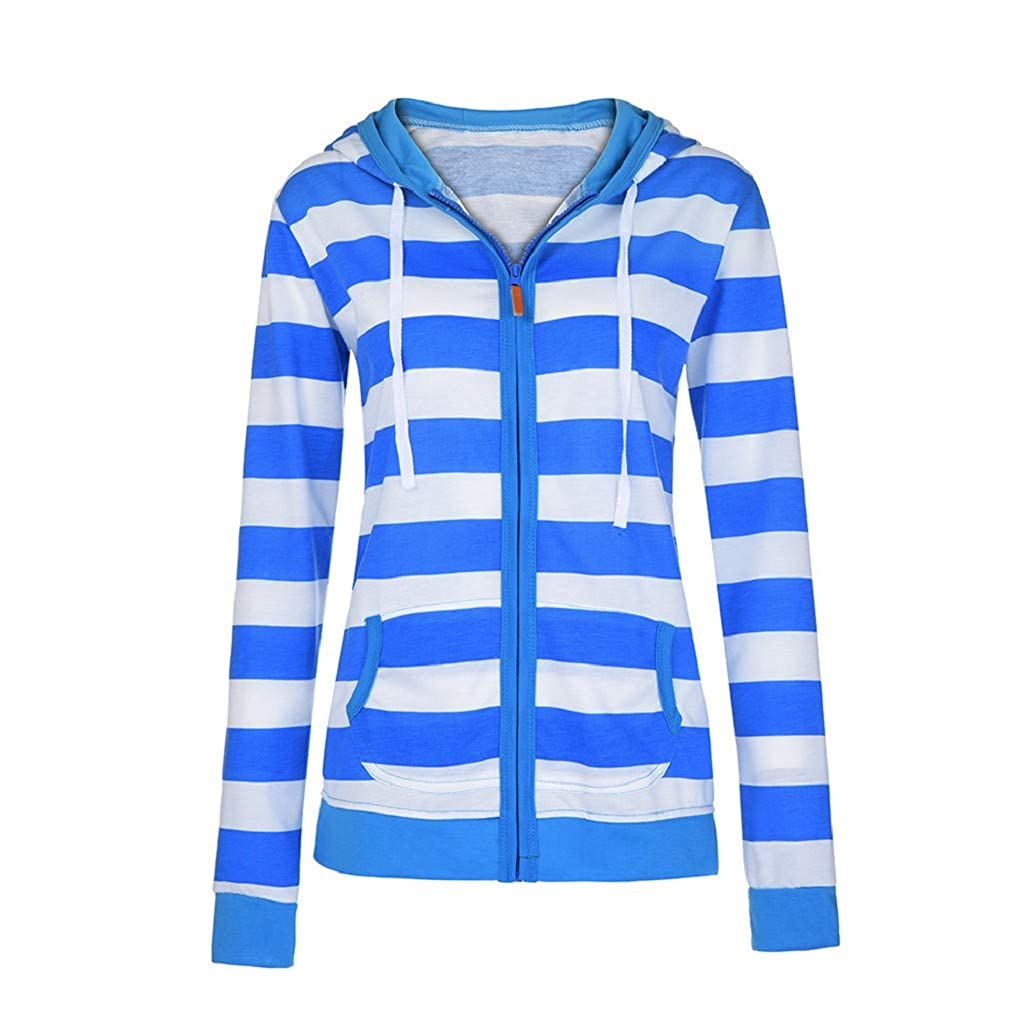 LONUPAZZ Femme Sweatshirt Zippe Pull /à Capuche Rayure Manteau Veste Casual Slim Jumper Blouson Tops Hiver
