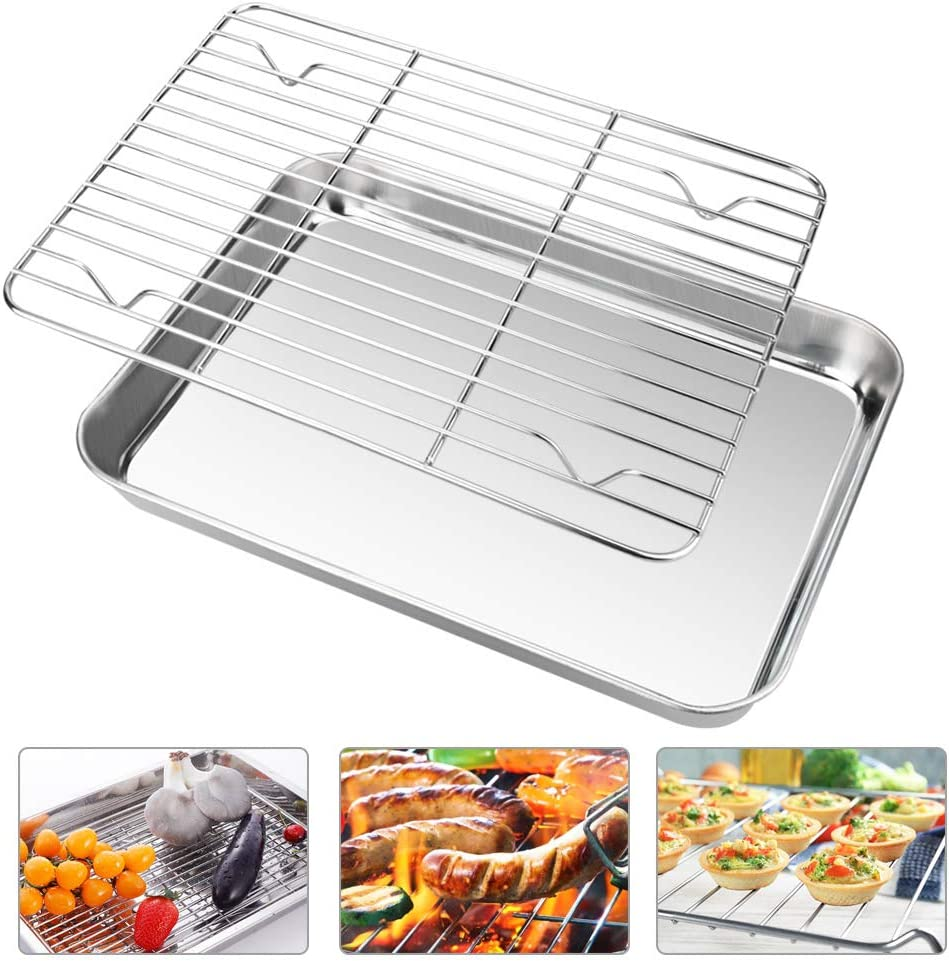 Zilong Toaster Oven Tray and Rack Set Stainless Steel Oven Pan Broiler Pan Non Toxic & Healthy Baking Tray 10.78.31.4 Inch Baking Sheet Cookie Sheet with Cooling Rack Easy Clean & Dishwasher Safe